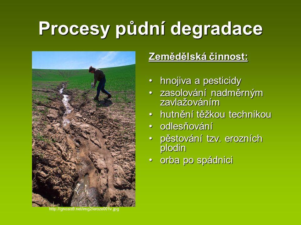 Procesy půdní degradace Zemědělská činnost: hnojiva a pesticidyhnojiva a pesticidy zasolování nadměrným zavlažovánímzasolování nadměrným zavlažováním