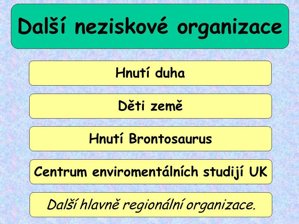 Další neziskové organizace Hnutí duha Děti země Hnutí Brontosaurus Centrum enviromentálních studijí UK Další hlavně regionální organizace.