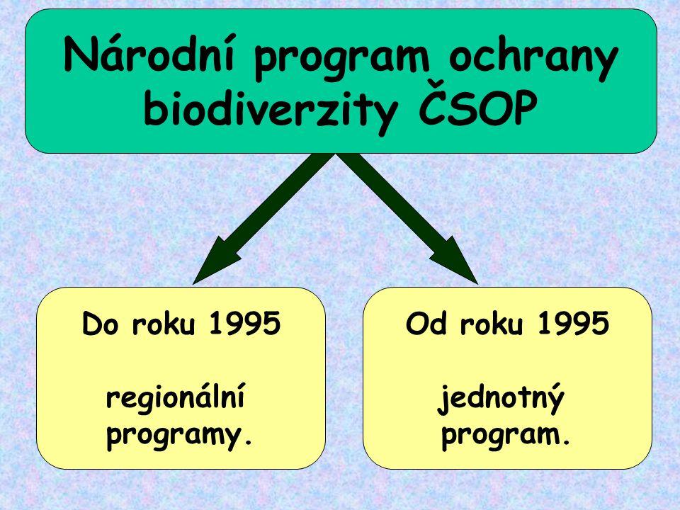 Do roku 1995 regionální programy. Od roku 1995 jednotný program. Národní program ochrany biodiverzity ČSOP