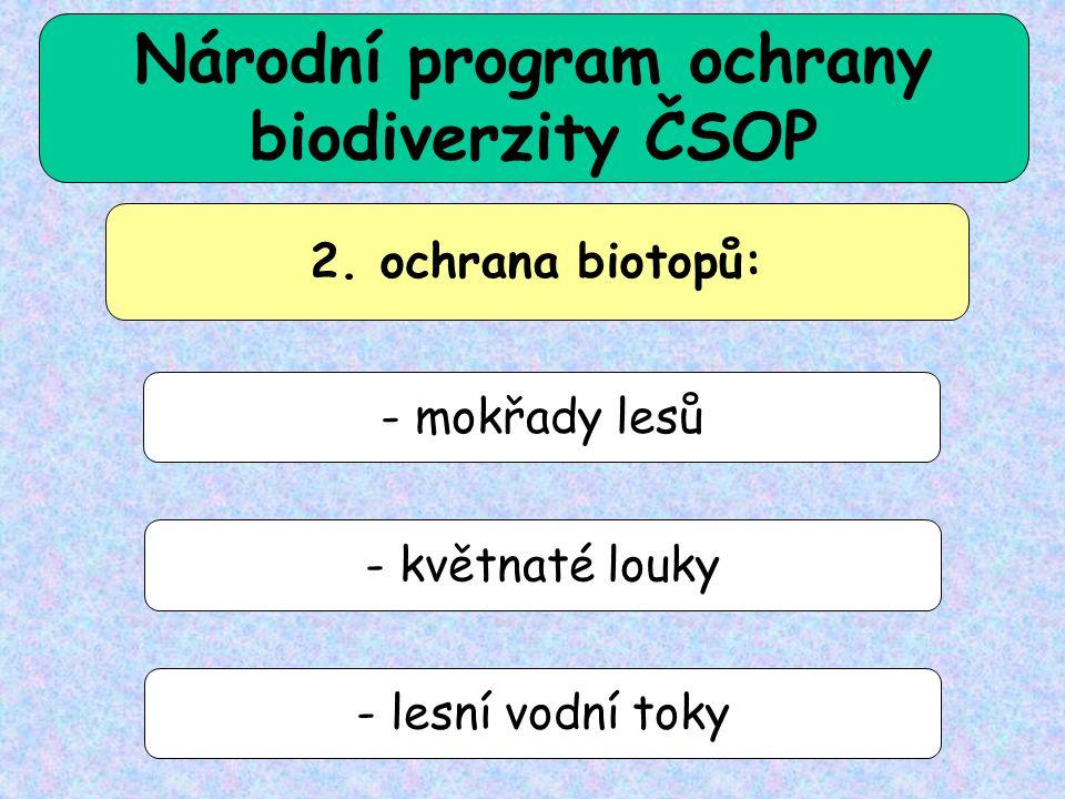 2. ochrana biotopů: - mokřady lesů - květnaté louky - lesní vodní toky Národní program ochrany biodiverzity ČSOP