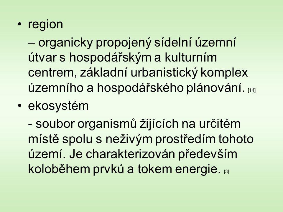 region – organicky propojený sídelní územní útvar s hospodářským a kulturním centrem, základní urbanistický komplex územního a hospodářského plánování