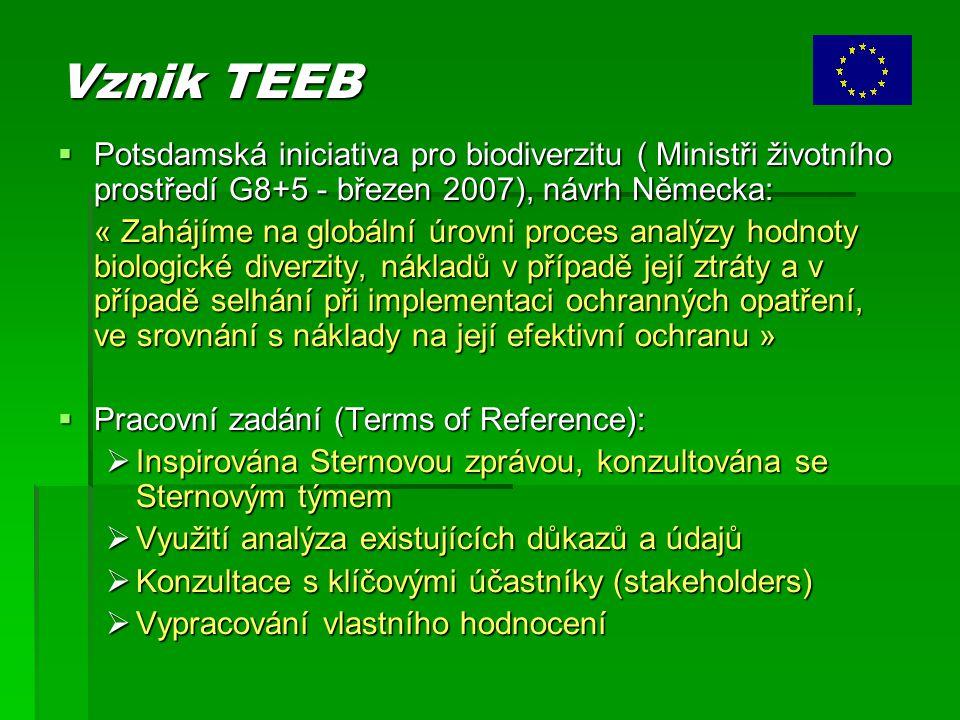 Vznik TEEB  Potsdamská iniciativa pro biodiverzitu ( Ministři životního prostředí G8+5 - březen 2007), návrh Německa: « Zahájíme na globální úrovni proces analýzy hodnoty biologické diverzity, nákladů v případě její ztráty a v případě selhání při implementaci ochranných opatření, ve srovnání s náklady na její efektivní ochranu »  Pracovní zadání (Terms of Reference):  Inspirována Sternovou zprávou, konzultována se Sternovým týmem  Využití analýza existujících důkazů a údajů  Konzultace s klíčovými účastníky (stakeholders)  Vypracování vlastního hodnocení