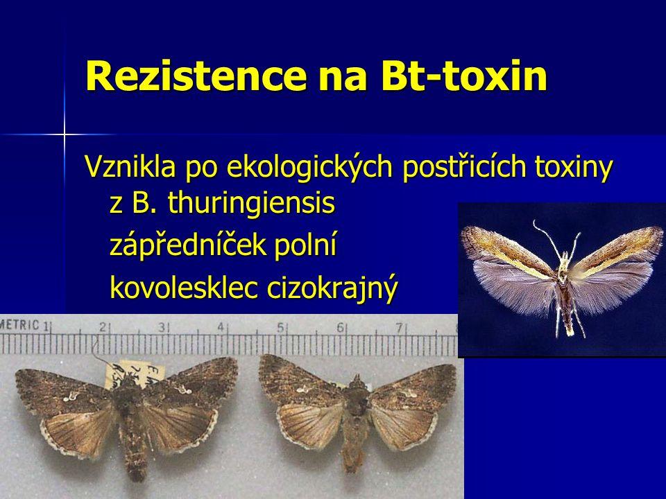 Rezistence na Bt-toxin Vznikla po ekologických postřicích toxiny z B. thuringiensis zápředníček polní kovolesklec cizokrajný