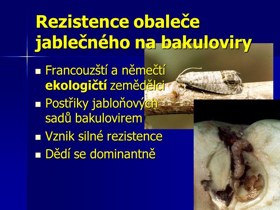 Rezistence obaleče jablečného na bakuloviry Francouzští a němečtí ekologičtí zemědělci Francouzští a němečtí ekologičtí zemědělci Postřiky jabloňových sadů bakulovirem Postřiky jabloňových sadů bakulovirem Vznik silné rezistence Vznik silné rezistence Dědí se dominantně Dědí se dominantně