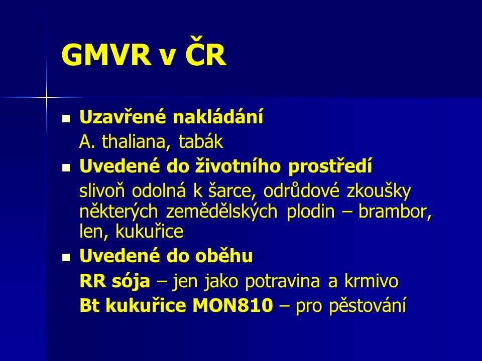 GMVR v ČR Uzavřené nakládání Uzavřené nakládání A. thaliana, tabák Uvedené do životního prostředí Uvedené do životního prostředí slivoň odolná k šarce