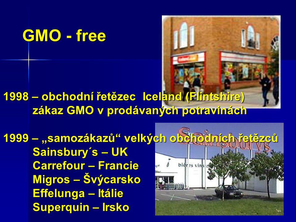 """1998 – obchodní řetězec Iceland (Flintshire) zákaz GMO v prodávaných potravinách 1999 – """"samozákazů velkých obchodních řetězců Sainsbury´s – UK Carrefour – Francie Migros – Švýcarsko Effelunga – Itálie Superquin – Irsko GMO - free"""