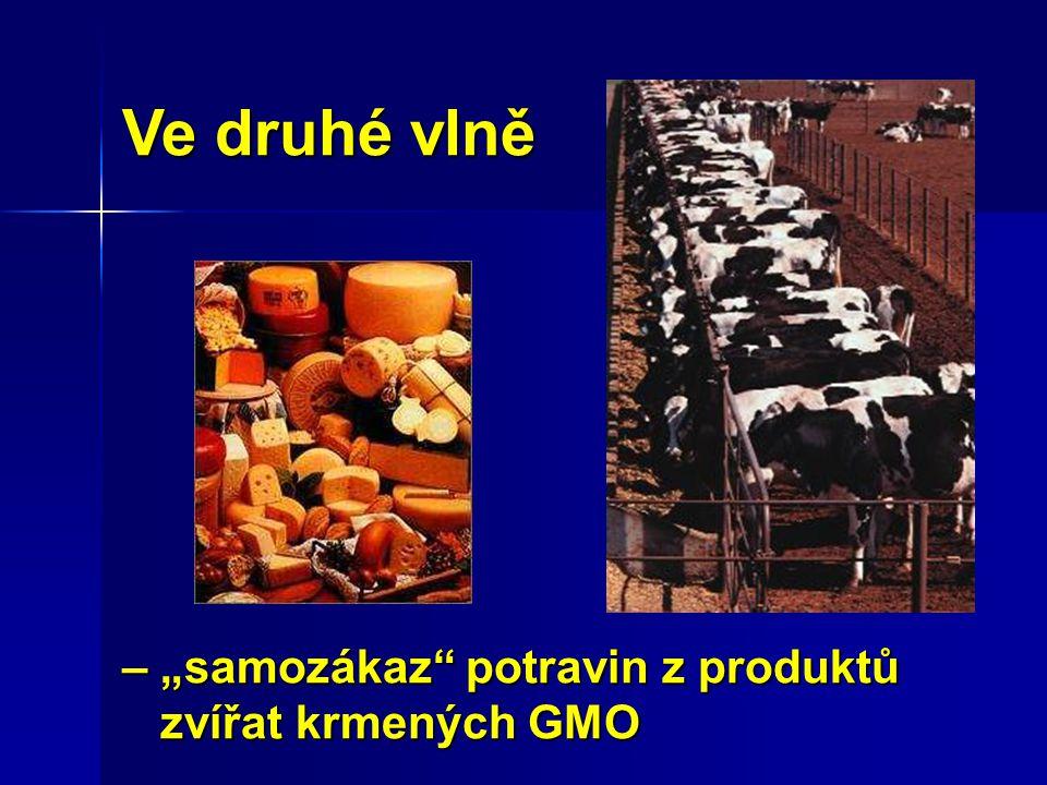 """Ve druhé vlně – """"samozákaz"""" potravin z produktů zvířat krmených GMO zvířat krmených GMO"""
