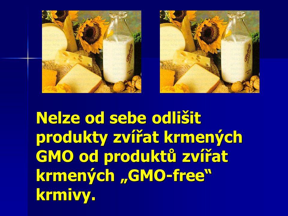 """Nelze od sebe odlišit produkty zvířat krmených GMO od produktů zvířat krmených """"GMO-free"""" krmivy."""