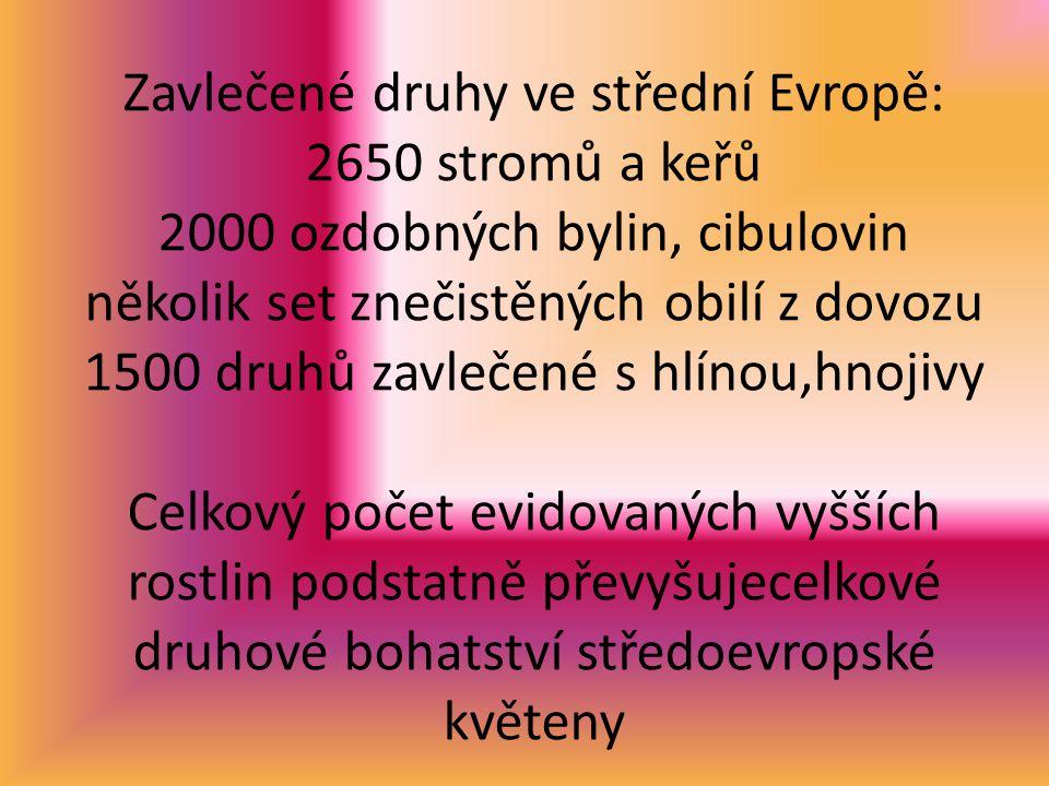 Zavlečené druhy ve střední Evropě: 2650 stromů a keřů 2000 ozdobných bylin, cibulovin několik set znečistěných obilí z dovozu 1500 druhů zavlečené s hlínou,hnojivy Celkový počet evidovaných vyšších rostlin podstatně převyšujecelkové druhové bohatství středoevropské květeny