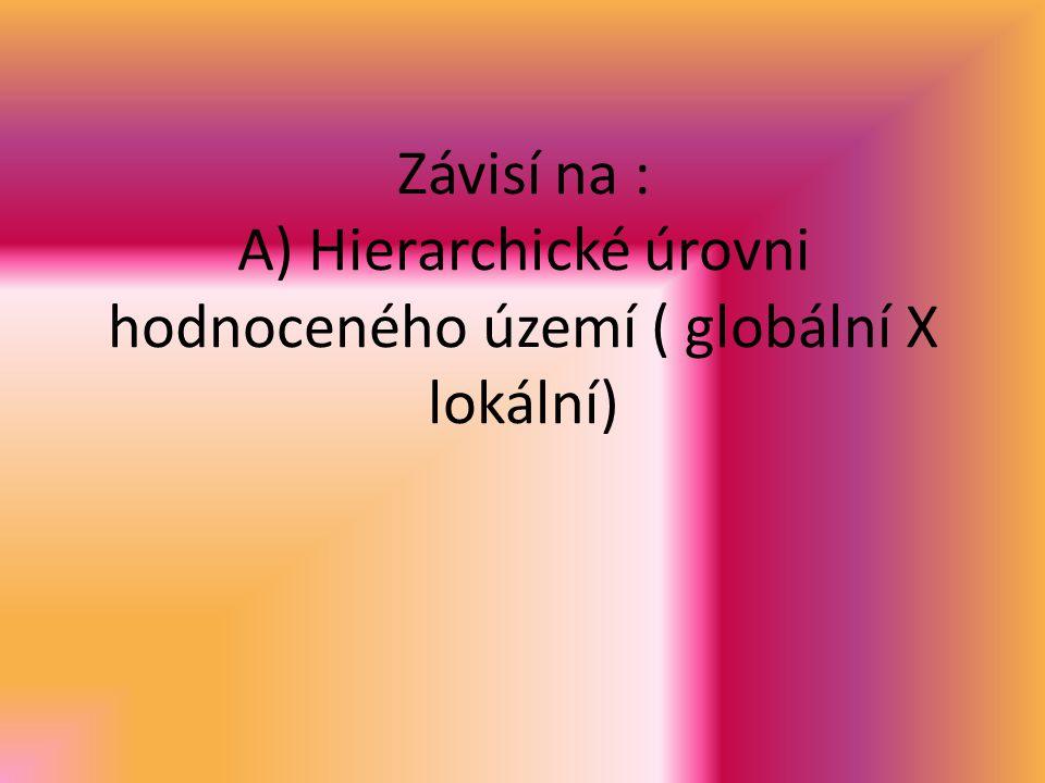 Závisí na : A) Hierarchické úrovni hodnoceného území ( globální X lokální)