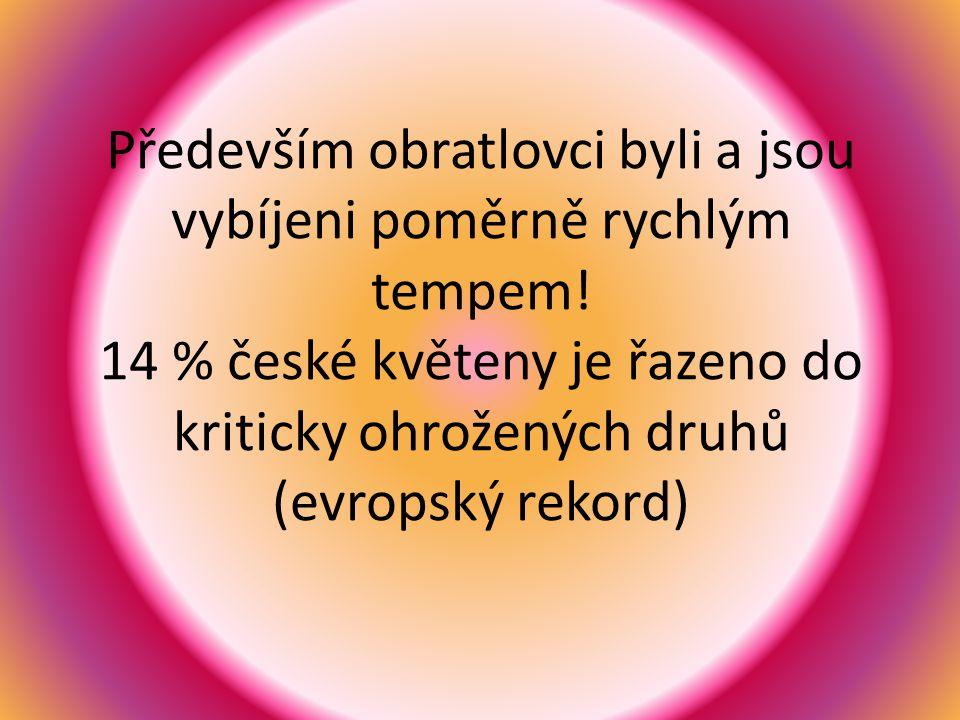 Především obratlovci byli a jsou vybíjeni poměrně rychlým tempem! 14 % české květeny je řazeno do kriticky ohrožených druhů (evropský rekord)