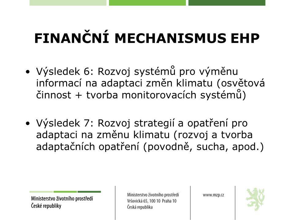 FINANČNÍ MECHANISMUS EHP Výsledek 6: Rozvoj systémů pro výměnu informací na adaptaci změn klimatu (osvětová činnost + tvorba monitorovacích systémů) Výsledek 7: Rozvoj strategií a opatření pro adaptaci na změnu klimatu (rozvoj a tvorba adaptačních opatření (povodně, sucha, apod.)