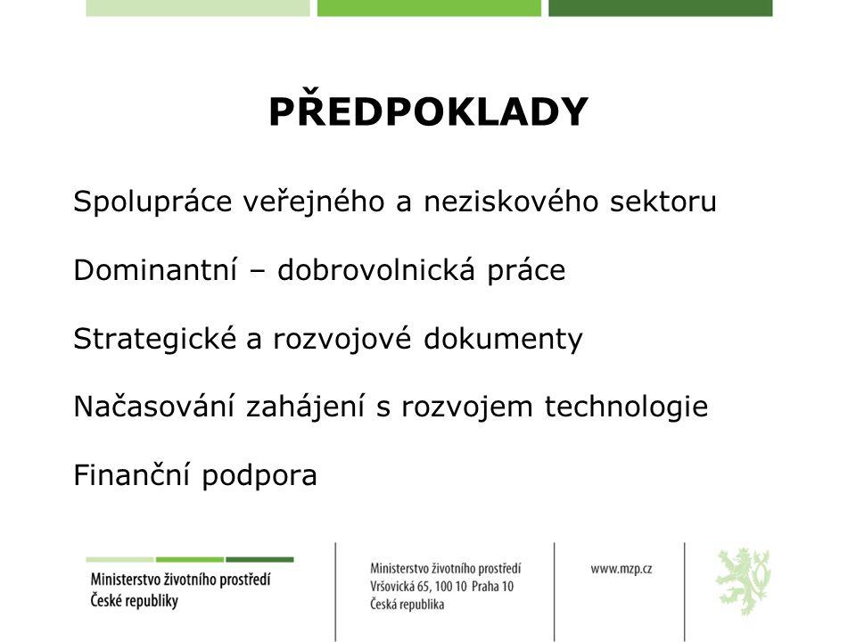 PŘEDPOKLADY Spolupráce veřejného a neziskového sektoru Dominantní – dobrovolnická práce Strategické a rozvojové dokumenty Načasování zahájení s rozvojem technologie Finanční podpora