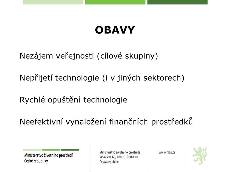 OBAVY Nezájem veřejnosti (cílové skupiny) Nepřijetí technologie (i v jiných sektorech) Rychlé opuštění technologie Neefektivní vynaložení finančních prostředků