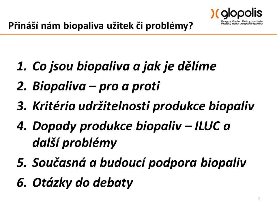 Přináší nám biopaliva užitek či problémy? 1.Co jsou biopaliva a jak je dělíme 2.Biopaliva – pro a proti 3.Kritéria udržitelnosti produkce biopaliv 4.D