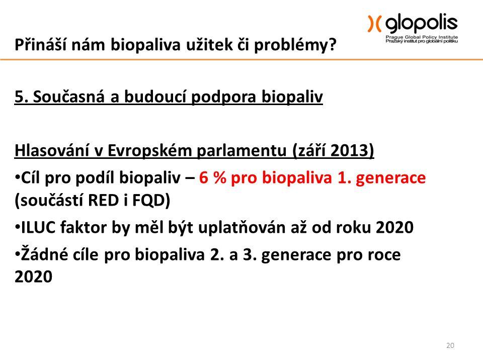 Přináší nám biopaliva užitek či problémy? 5. Současná a budoucí podpora biopaliv Hlasování v Evropském parlamentu (září 2013) Cíl pro podíl biopaliv –