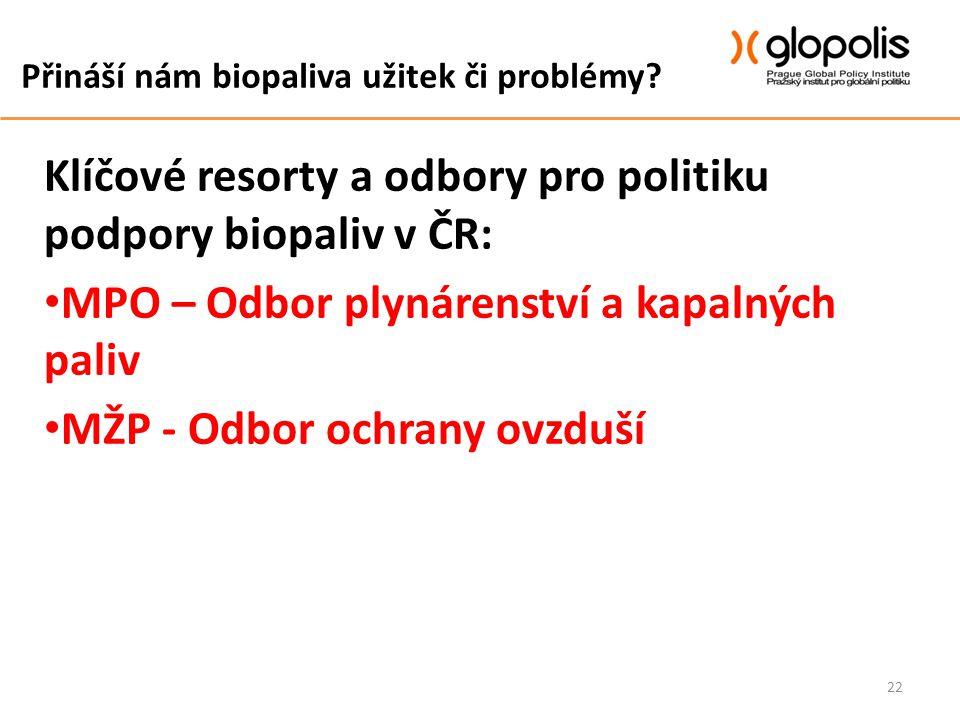 Přináší nám biopaliva užitek či problémy? Klíčové resorty a odbory pro politiku podpory biopaliv v ČR: MPO – Odbor plynárenství a kapalných paliv MŽP