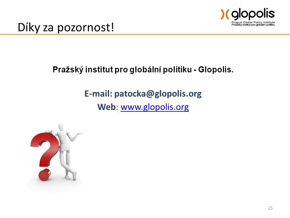 Díky za pozornost! Pražský institut pro globální politiku - Glopolis. E-mail: patocka@glopolis.org Web: www.glopolis.orgwww.glopolis.org 25