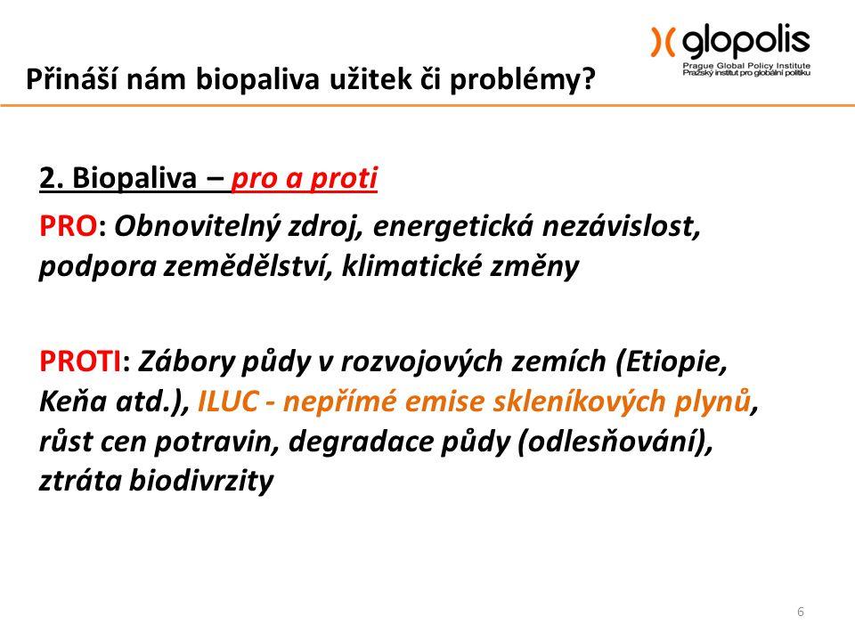 Přináší nám biopaliva užitek či problémy? 2. Biopaliva – pro a proti PRO: Obnovitelný zdroj, energetická nezávislost, podpora zemědělství, klimatické