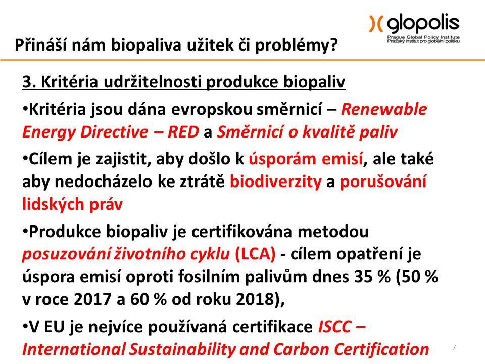 Přináší nám biopaliva užitek či problémy? 3. Kritéria udržitelnosti produkce biopaliv Kritéria jsou dána evropskou směrnicí – Renewable Energy Directi