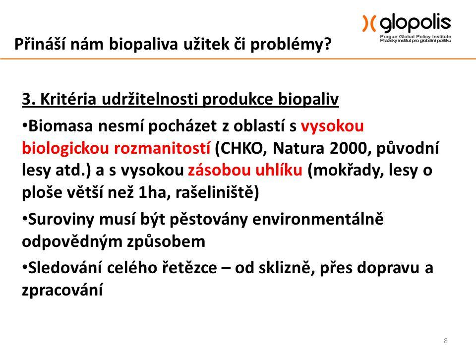 Přináší nám biopaliva užitek či problémy? 3. Kritéria udržitelnosti produkce biopaliv Biomasa nesmí pocházet z oblastí s vysokou biologickou rozmanito