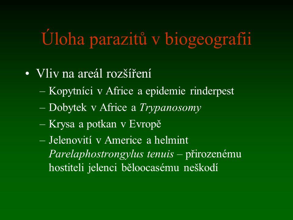 Úloha parazitů v biogeografii Vliv na areál rozšíření –Kopytníci v Africe a epidemie rinderpest –Dobytek v Africe a Trypanosomy –Krysa a potkan v Evro
