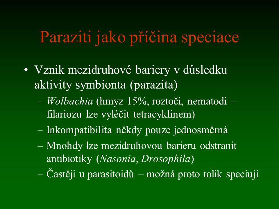 Paraziti jako příčina speciace Vznik mezidruhové bariery v důsledku aktivity symbionta (parazita) –Wolbachia (hmyz 15%, roztoči, nematodi – filariozu