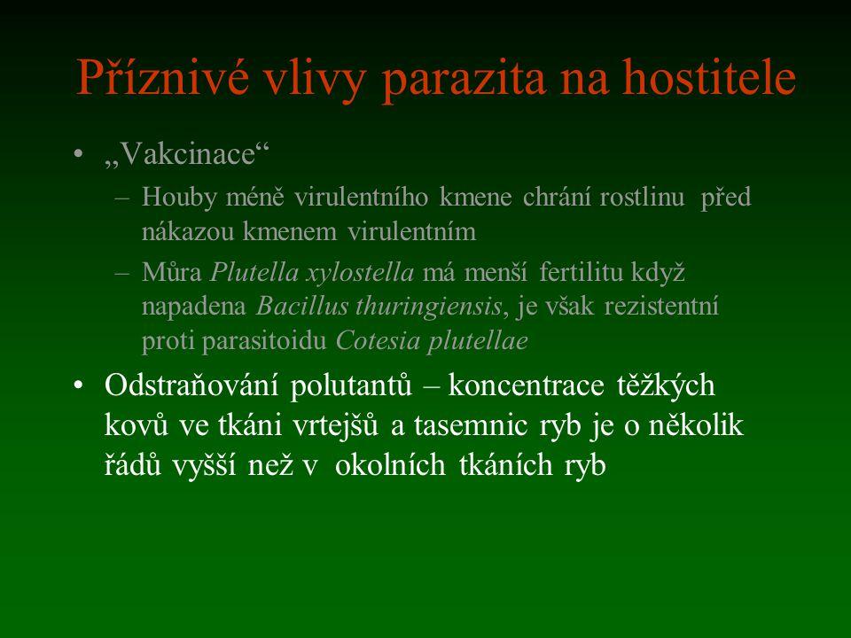 """Příznivé vlivy parazita na hostitele """"Vakcinace"""" –Houby méně virulentního kmene chrání rostlinu před nákazou kmenem virulentním –Můra Plutella xyloste"""
