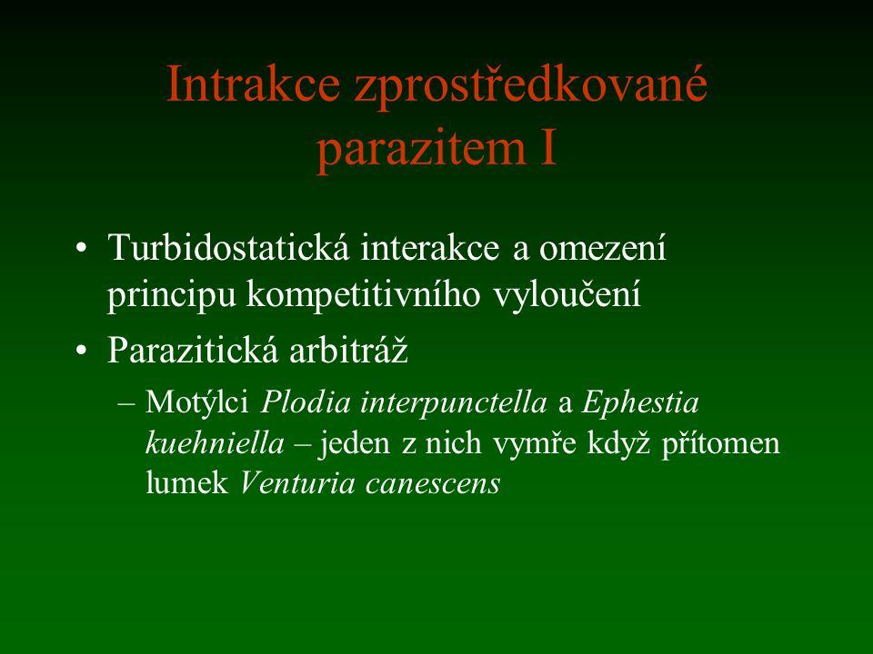 Intrakce zprostředkované parazitem I Turbidostatická interakce a omezení principu kompetitivního vyloučení Parazitická arbitráž –Motýlci Plodia interp