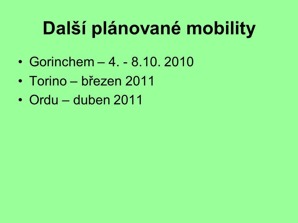 Další plánované mobility Gorinchem – 4. - 8.10. 2010 Torino – březen 2011 Ordu – duben 2011