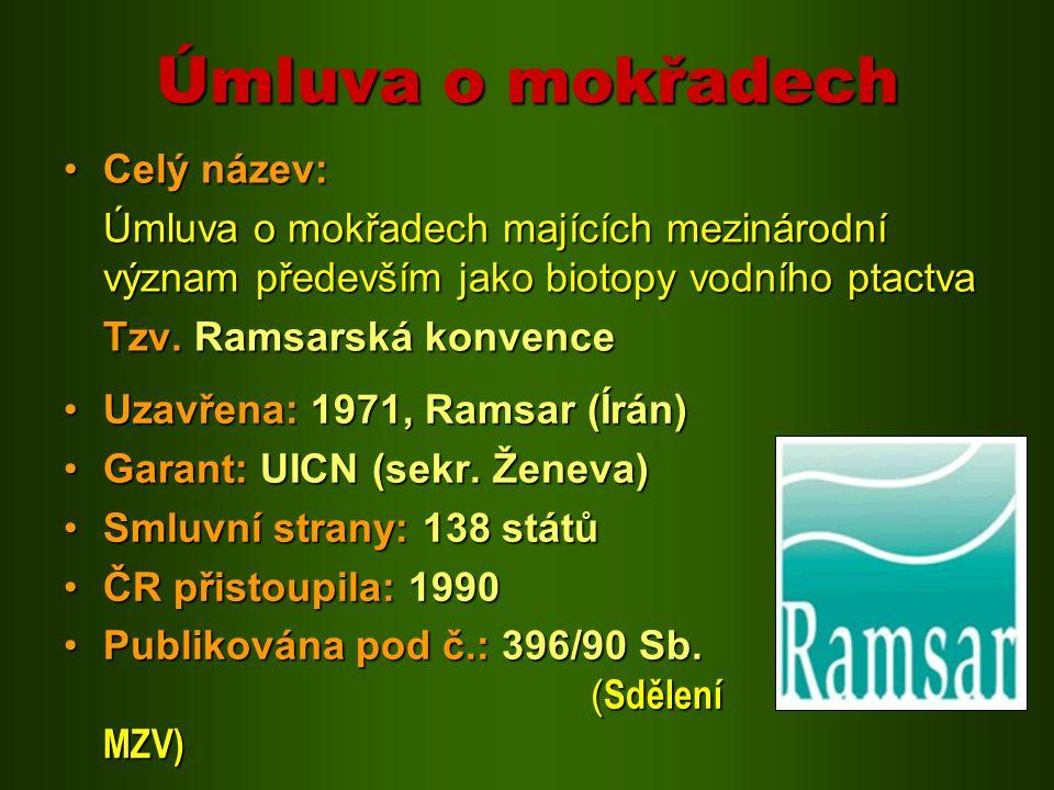Úmluva o mokřadech Uzavřena: 1971, Ramsar (Írán)Uzavřena: 1971, Ramsar (Írán) Garant: UICN (sekr. Ženeva)Garant: UICN (sekr. Ženeva) Smluvní strany: 1