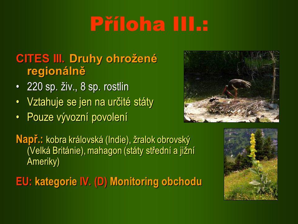 Příloha III.: CITES III. Druhy ohrožené regionálně 220 sp. živ., 8 sp. rostlin220 sp. živ., 8 sp. rostlin Vztahuje se jen na určité státyVztahuje se j