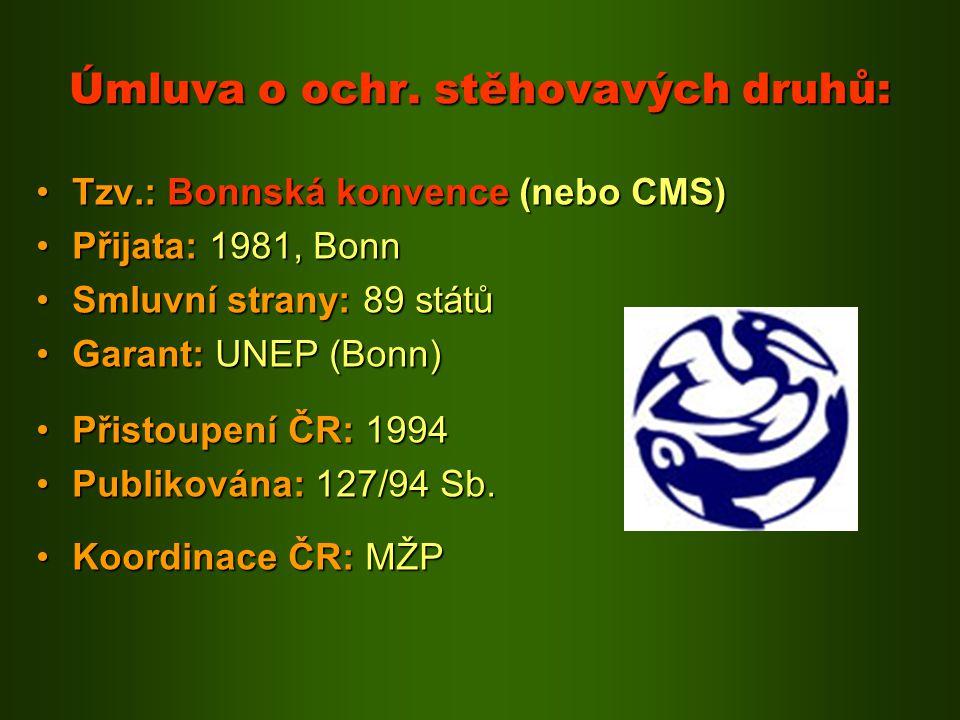 Úmluva o ochr. stěhovavých druhů: Tzv.: Bonnská konvence (nebo CMS)Tzv.: Bonnská konvence (nebo CMS) Přijata: 1981, BonnPřijata: 1981, Bonn Smluvní st