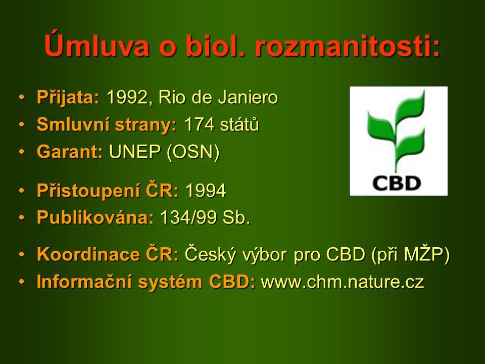 Úmluva o biol. rozmanitosti: Přijata: 1992, Rio de JanieroPřijata: 1992, Rio de Janiero Smluvní strany: 174 státůSmluvní strany: 174 států Garant: UNE