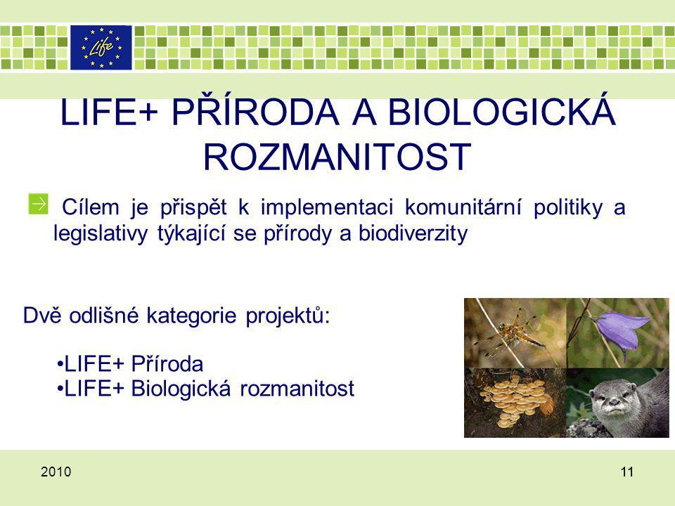 LIFE+ PŘÍRODA A BIOLOGICKÁ ROZMANITOST Cílem je přispět k implementaci komunitární politiky a legislativy týkající se přírody a biodiverzity 201011 Dv