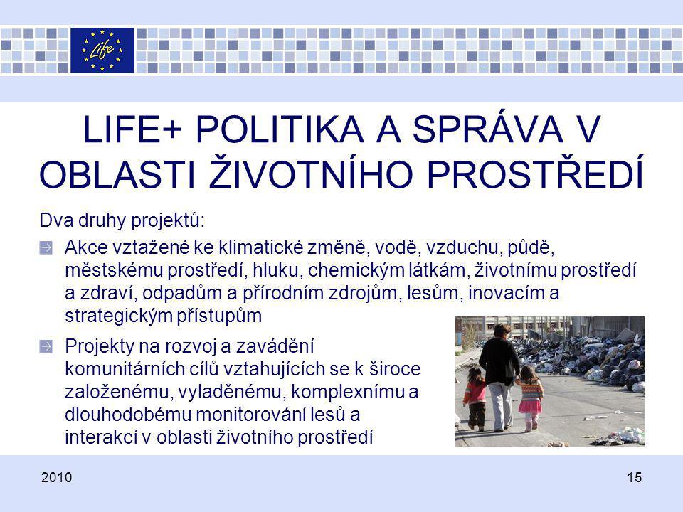 LIFE+ POLITIKA A SPRÁVA V OBLASTI ŽIVOTNÍHO PROSTŘEDÍ Dva druhy projektů: Akce vztažené ke klimatické změně, vodě, vzduchu, půdě, městskému prostředí,