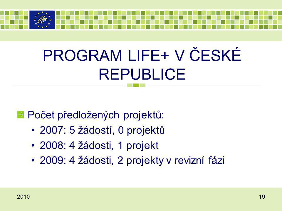 PROGRAM LIFE+ V ČESKÉ REPUBLICE Počet předložených projektů: 2007: 5 žádostí, 0 projektů 2008: 4 žádosti, 1 projekt 2009: 4 žádosti, 2 projekty v revi