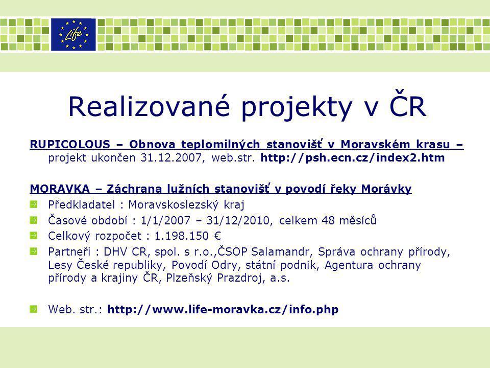 Realizované projekty v ČR RUPICOLOUS – Obnova teplomilných stanovišť v Moravském krasu – projekt ukončen 31.12.2007, web.str. http://psh.ecn.cz/index2