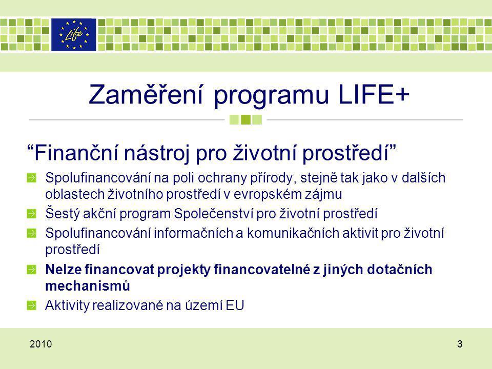 ČÍSLA LIFE+ Trvání: 01.01.2007 až 31.12.2013 Rozpočet: více než €2 miliardy Rozdělení rozpočtu  alespoň 78% na projektové granty, z čehož  alespoň 50% na přírodu a biologickou rozmanitost  alespoň 15% cíl pro přeshraniční projekty 201044