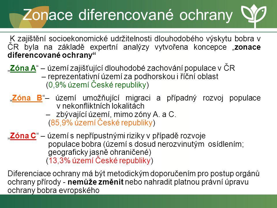 Zonace diferencované ochrany K zajištění socioekonomické udržitelnosti dlouhodobého výskytu bobra v ČR byla na základě expertní analýzy vytvořena konc