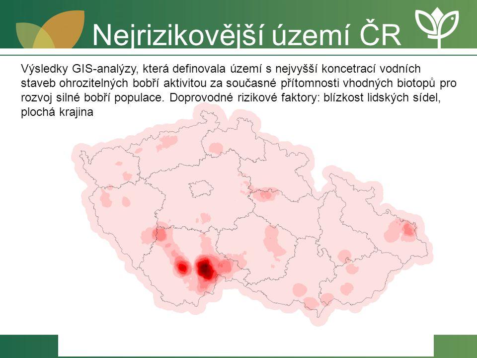 Nejrizikovější území ČR Výsledky GIS-analýzy, která definovala území s nejvyšší koncetrací vodních staveb ohrozitelných bobří aktivitou za současné př