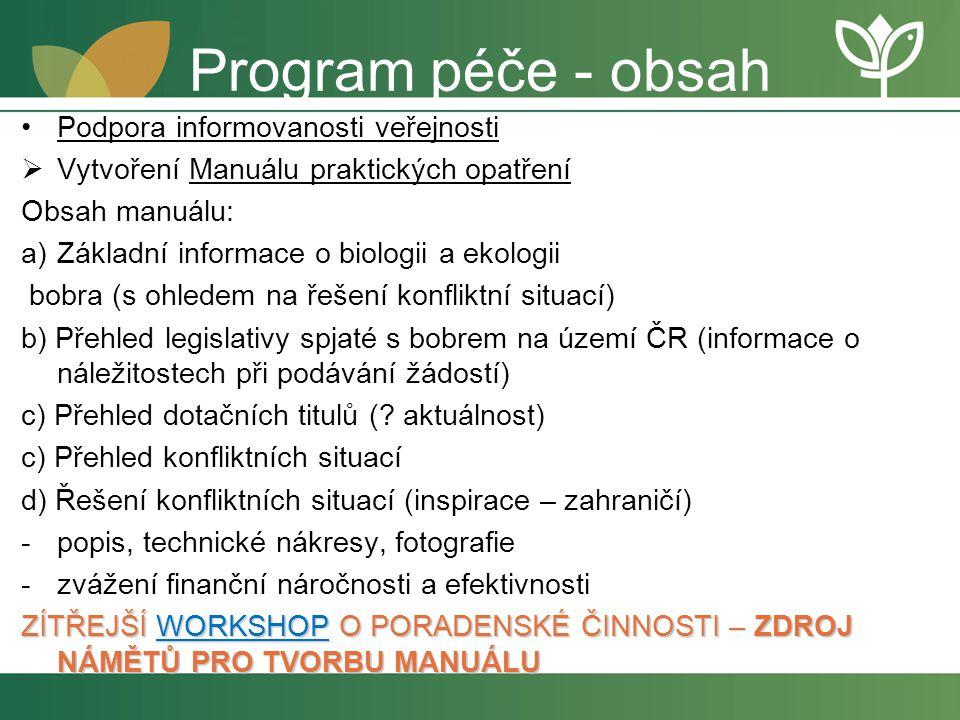Program péče - obsah Podpora informovanosti veřejnosti  Vytvoření Manuálu praktických opatření Obsah manuálu: a)Základní informace o biologii a ekolo