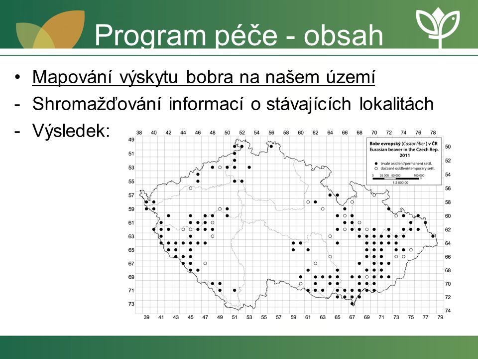 Program péče - obsah Mapování výskytu bobra na našem území -Shromažďování informací o stávajících lokalitách -Výsledek:
