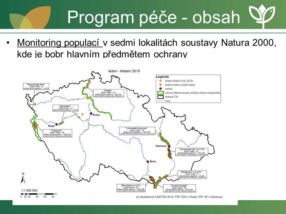 Program péče - obsah Monitoring populací v sedmi lokalitách soustavy Natura 2000, kde je bobr hlavním předmětem ochrany