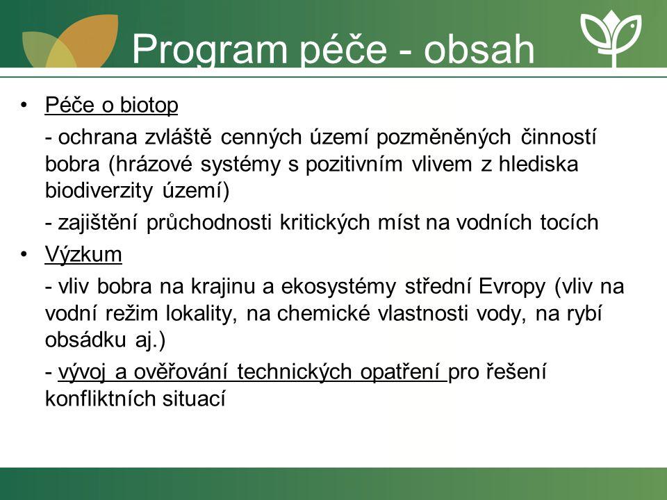 Program péče - obsah Péče o biotop - ochrana zvláště cenných území pozměněných činností bobra (hrázové systémy s pozitivním vlivem z hlediska biodiver