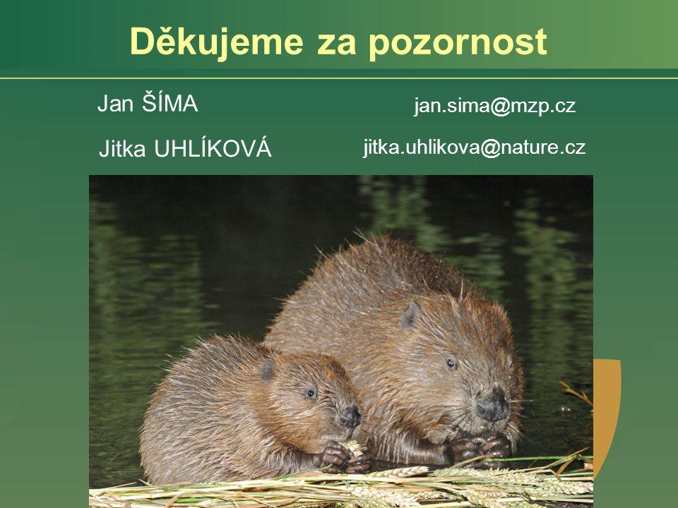 Děkujeme za pozornost Jitka UHLÍKOVÁ jitka.uhlikova@nature.cz Jan ŠÍMA jan.sima@mzp.cz