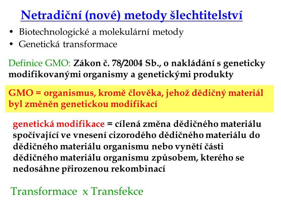 Genový konstrukt a přenos Příprava genového konstruktu ( sekvence strukturního genu + regulační sekvence + markerový gen) Přenos genového konstruktu mikroinjekcí, elektroporací, virus, plazmid Vypnutí genu – genový knock-out