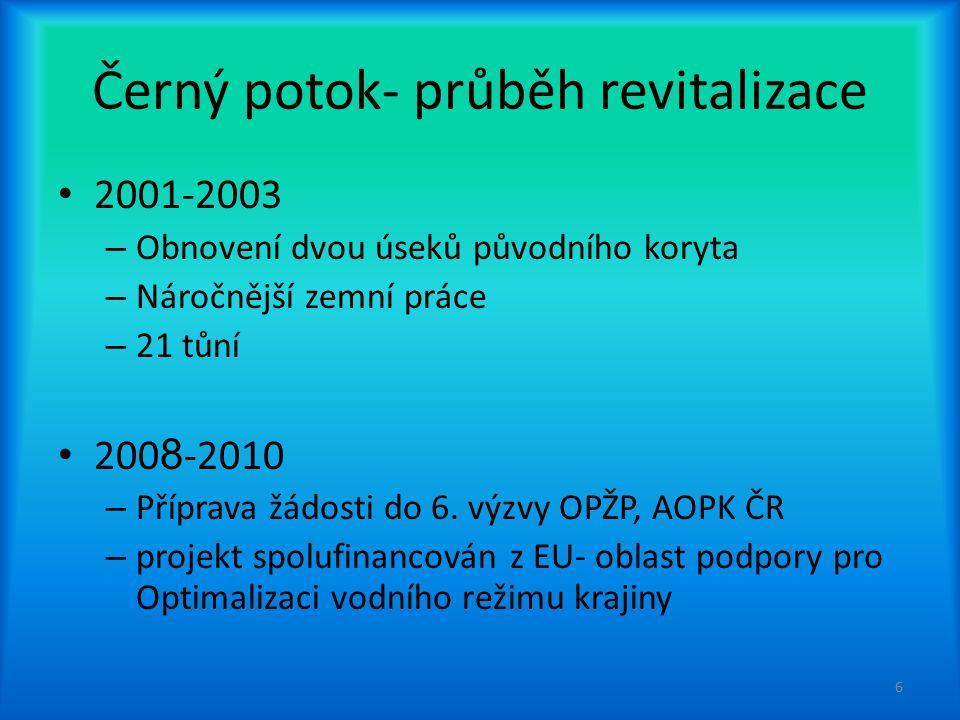 Černý potok- průběh revitalizace 2001-2003 – Obnovení dvou úseků původního koryta – Náročnější zemní práce – 21 tůní 200 8 -2010 – Příprava žádosti do