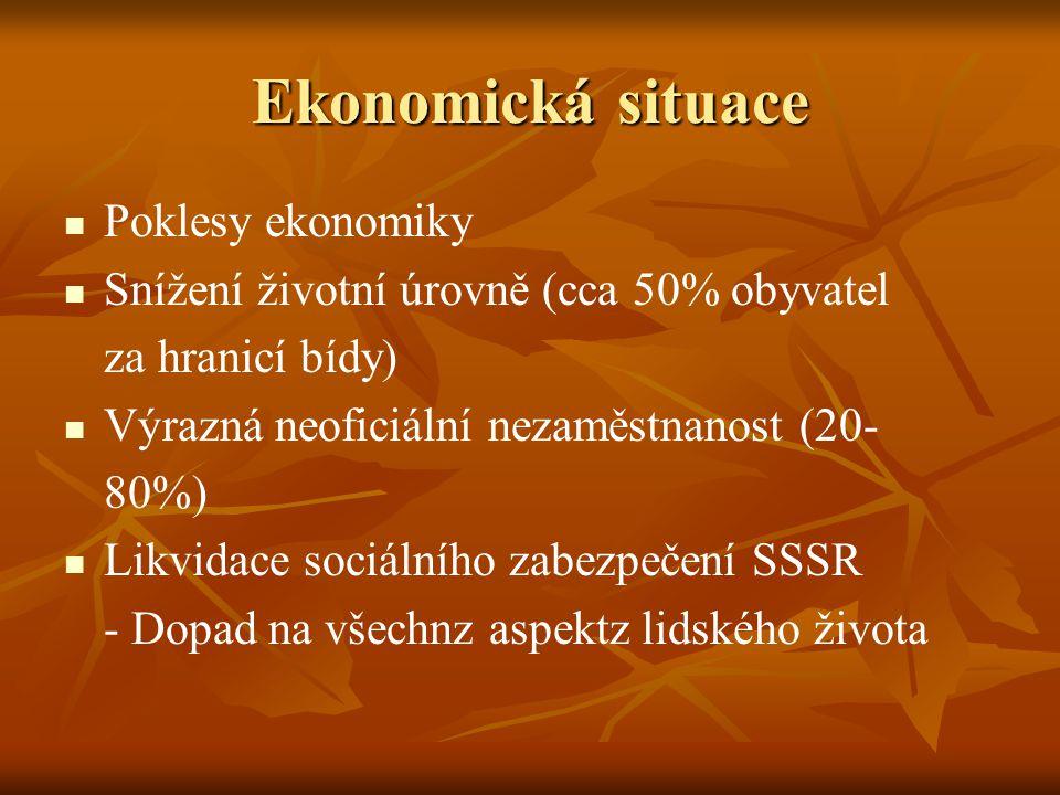 Poklesy ekonomiky Snížení životní úrovně (cca 50% obyvatel za hranicí bídy) Výrazná neoficiální nezaměstnanost (20- 80%) Likvidace sociálního zabezpečení SSSR - Dopad na všechnz aspektz lidského života Ekonomická situace