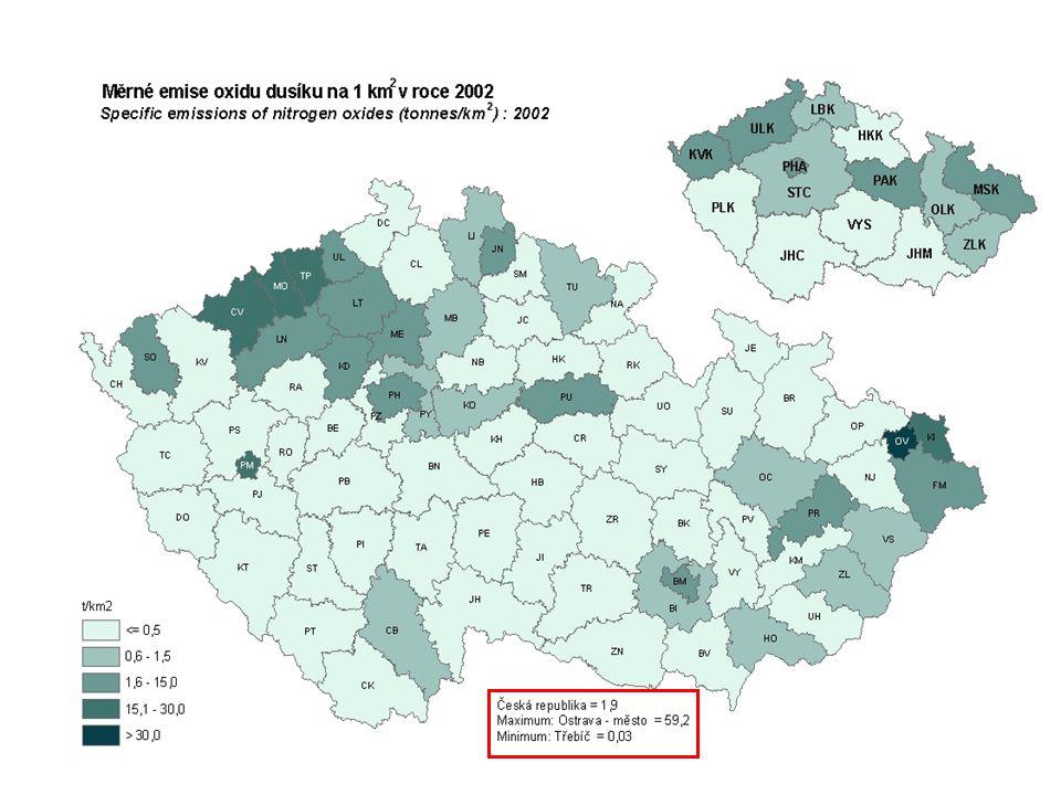 Emise okyselujících látek 1990 - 2004